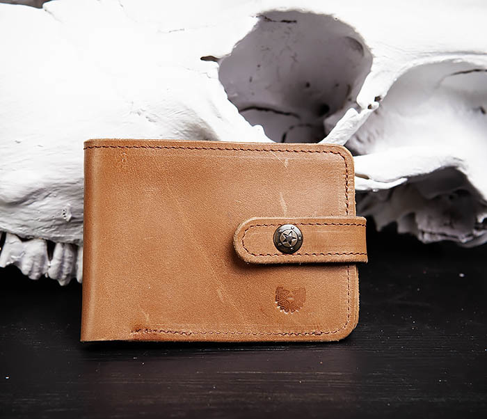 WB163 Мужской кожаный кошелек с монетницей на кнопке, «Boroda Design»