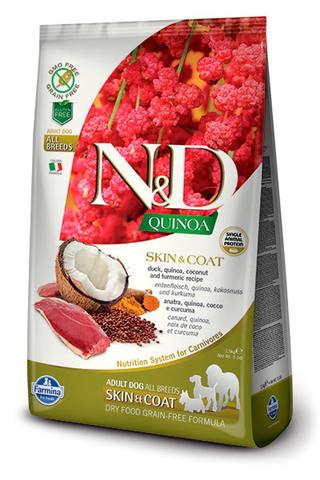 7 кг. FARMINA N&D Quinoa Сухой корм для взрослых собак с уткой, киноа, кокосом и куркумой Adult Dog Skin&Coat Duck