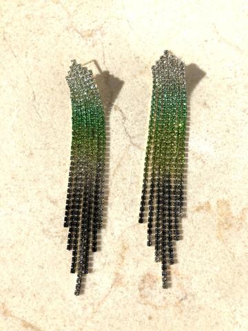 Серьги Монесса, зелено-золотистые тона
