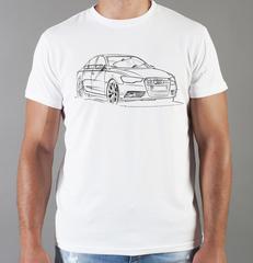 Футболка с принтом Ауди (Audi) белая 009