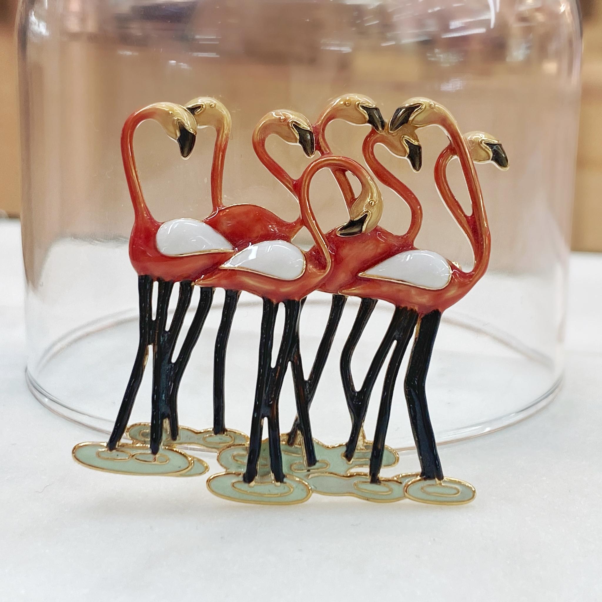 Брошь Фламинго Стая эмаль