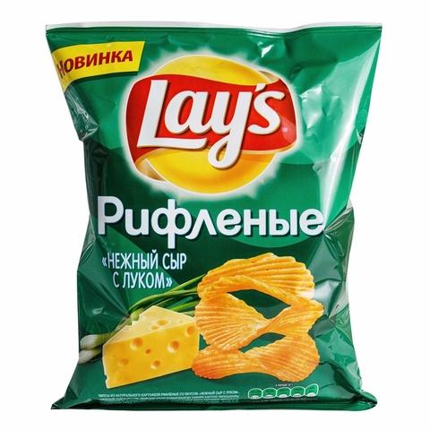 Чипсы LAY`S Рифленые Нежный сыр с луком 150 гр РОССИЯ