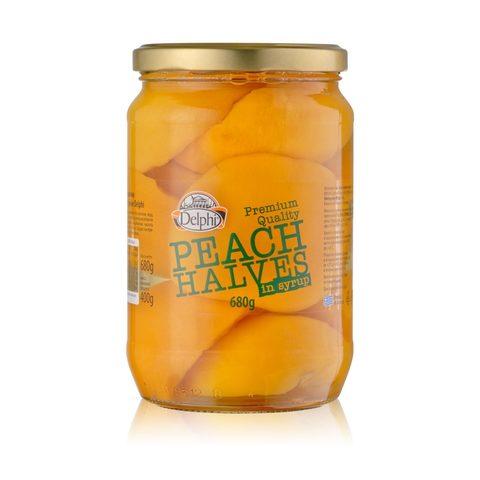 Половинки персика в сиропе DELPHI 680 гр стекло