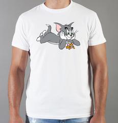 Футболка с принтом мультфильма Tom and Jerry (Том и Джерри), белая 0010