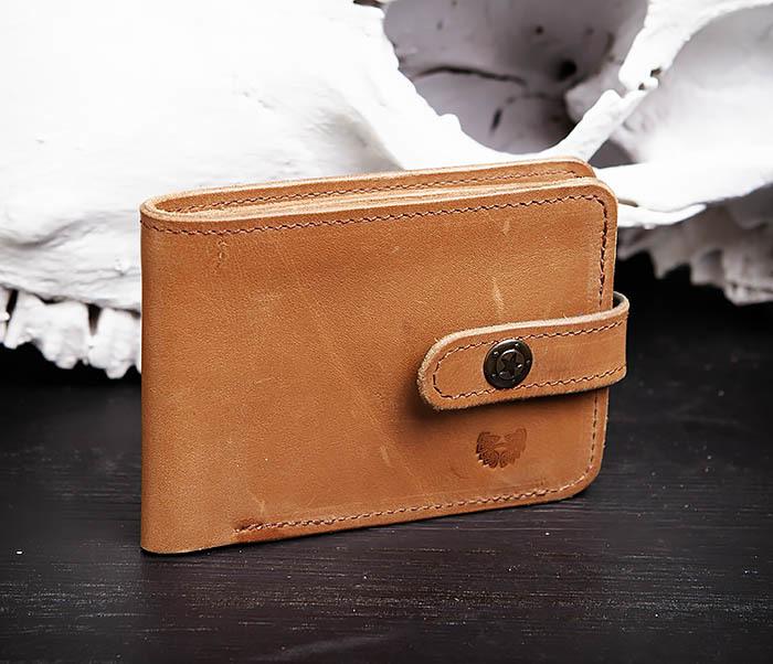 WB163 Мужской кожаный кошелек с монетницей на кнопке, «Boroda Design» фото 02