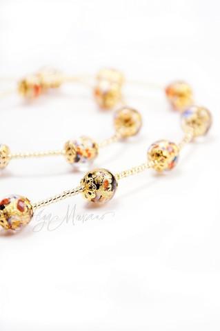 Ожерелье из муранского стекла Арлекино Пикколо золотистое