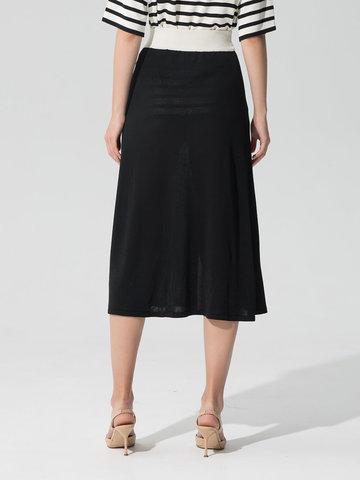 Женская юбка черного цвета с контрастной полосой из шелка и вискозы - фото 3