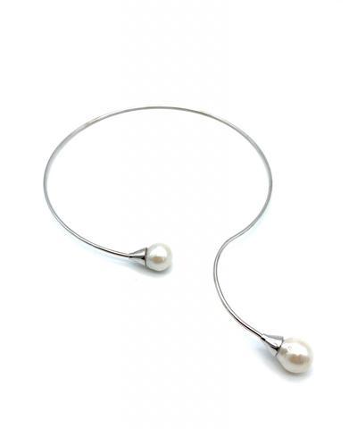 32035 - Колье фиксированной формы из серебра с жемчугом