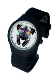Часы наручные Мопс с наушниками черные