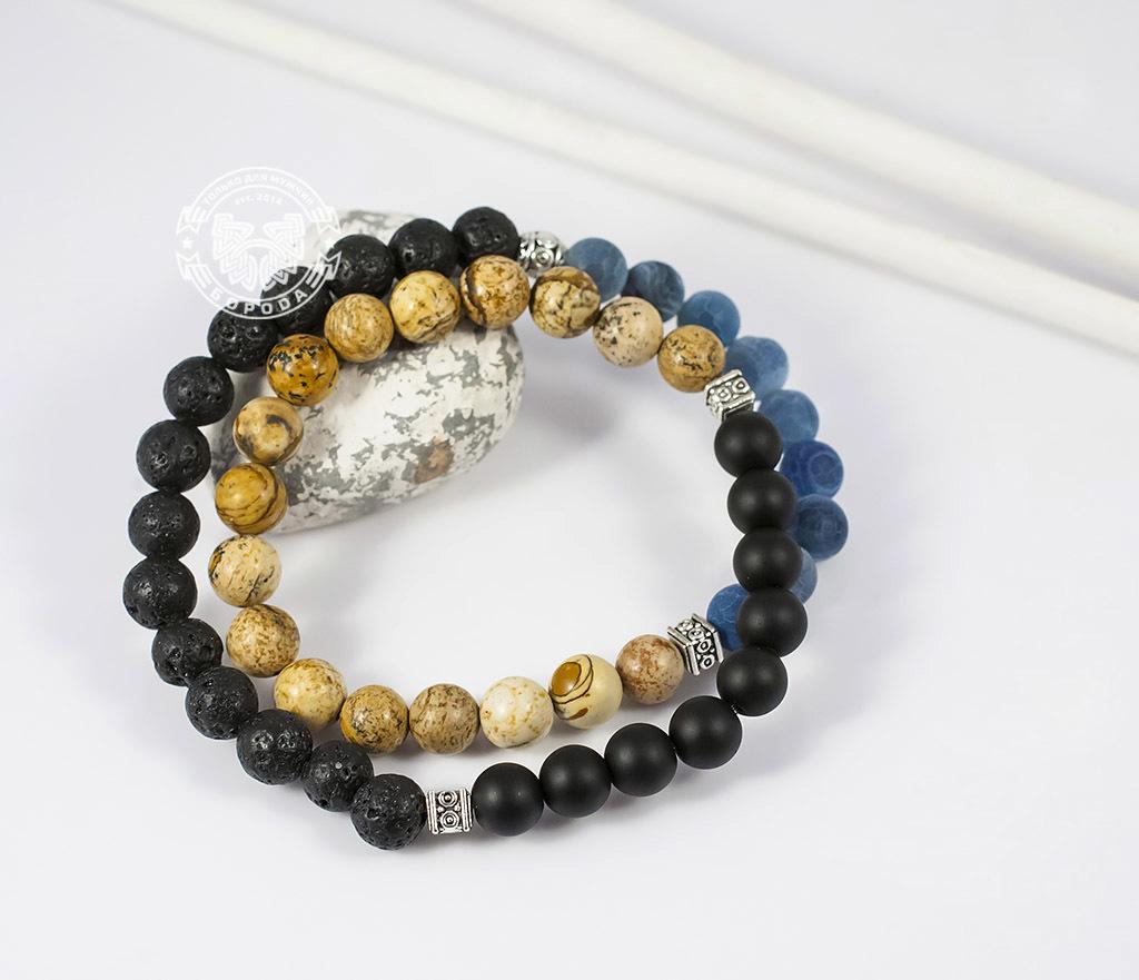 BS658 Двойной мужской браслет из шунгита, лавы, яшмы и агата. «Boroda Design» фото 05