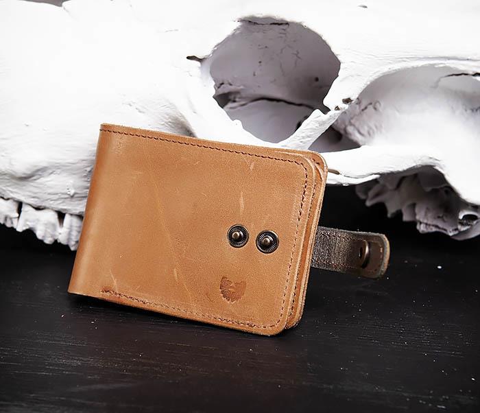 WB163 Мужской кожаный кошелек с монетницей на кнопке, «Boroda Design» фото 03