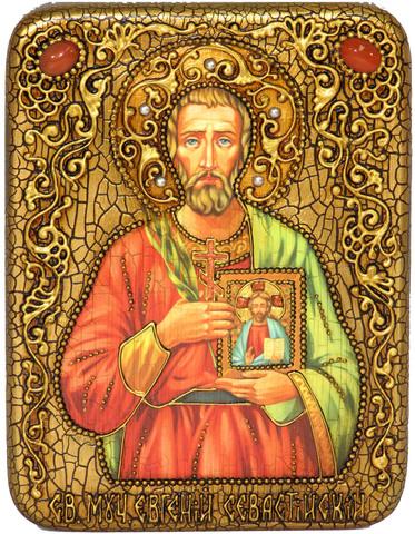 Инкрустированная Икона Святой мученик Евгений Севастийский 20х15см на натуральном дереве, в подарочной коробке