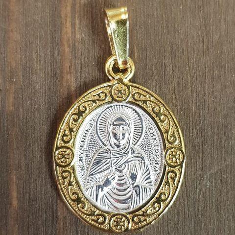 Нательная именная икона святая Виктория (Ника) с позолотой кулон с молитвой