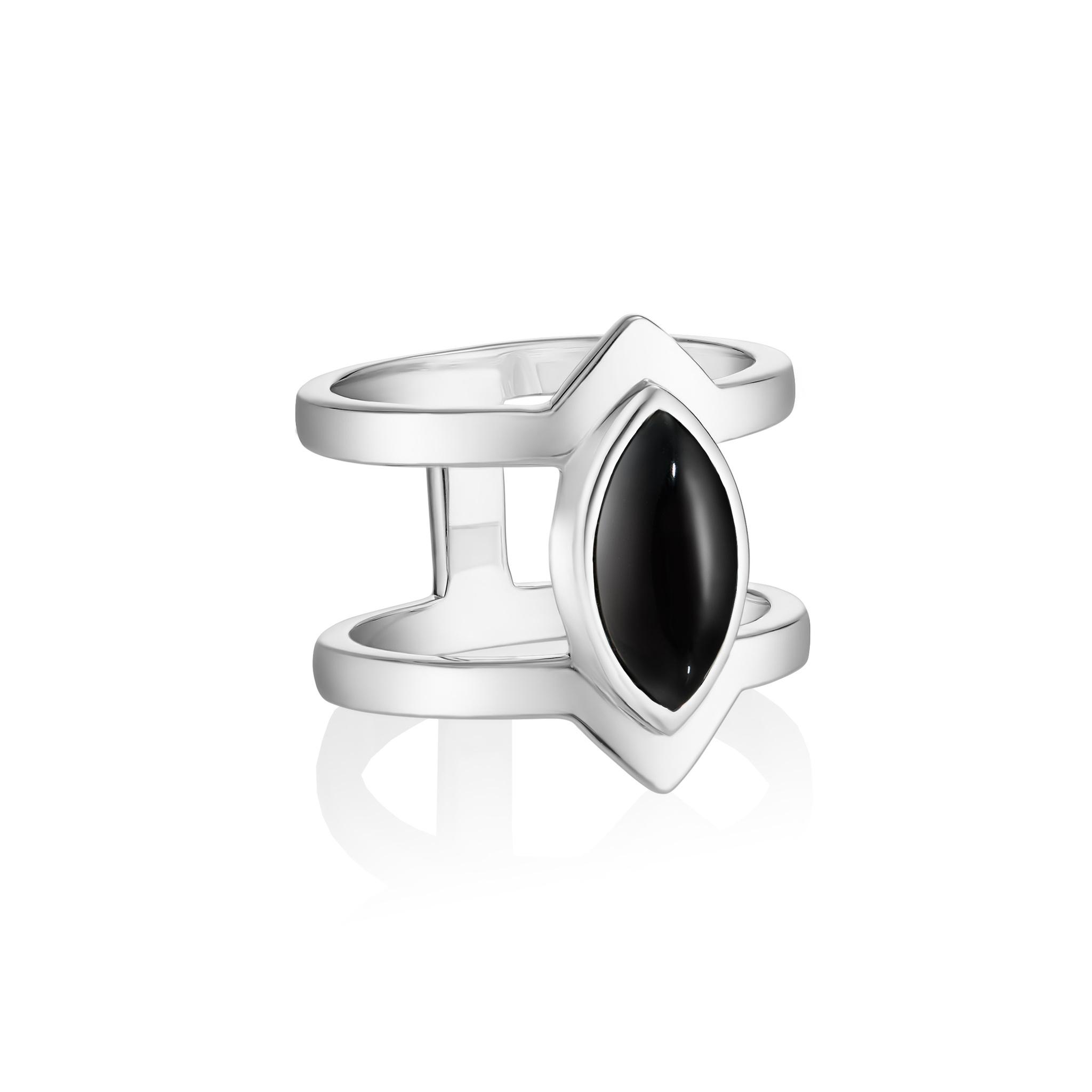 Кольцо PETALA двойное - Черный оникс