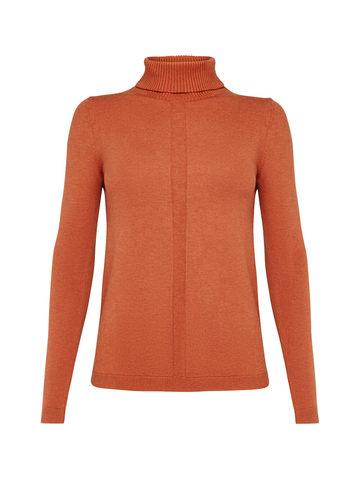 Женская водолазка оранжевого цвета из шерсти и шелка - фото 1