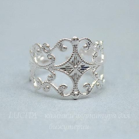 Основа для кольца филигранная (цвет - серебро)