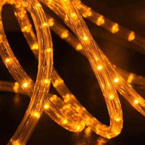 Светодиодный шнур дюралайт 10 метров отрезок с коннектором и штекером желтый цвет
