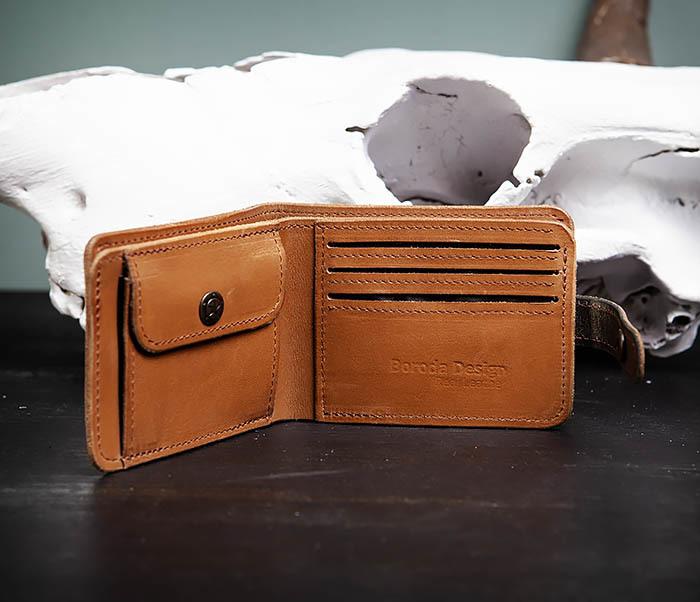 WB163 Мужской кожаный кошелек с монетницей на кнопке, «Boroda Design» фото 04