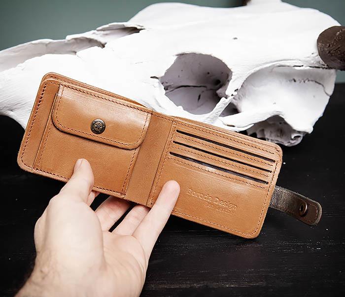 WB163 Мужской кожаный кошелек с монетницей на кнопке, «Boroda Design» фото 05