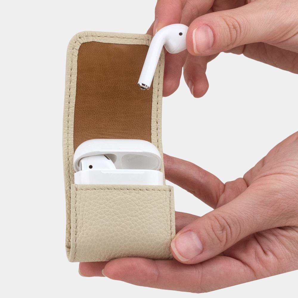 Чехол-держатель для наушников Petit Easy из натуральной кожи теленка, молочного цвета
