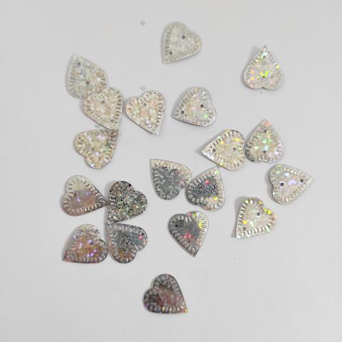 Пайетки лист липы серебро голограф 50грамм