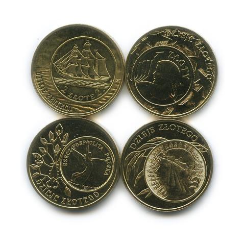 """Набор из 4 монет """"История злотого"""" UNC 2004-2014 гг."""