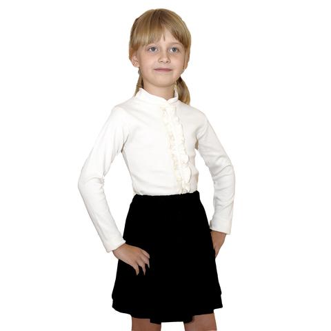 Школьная трикотажная блузка для девочки (молочная)