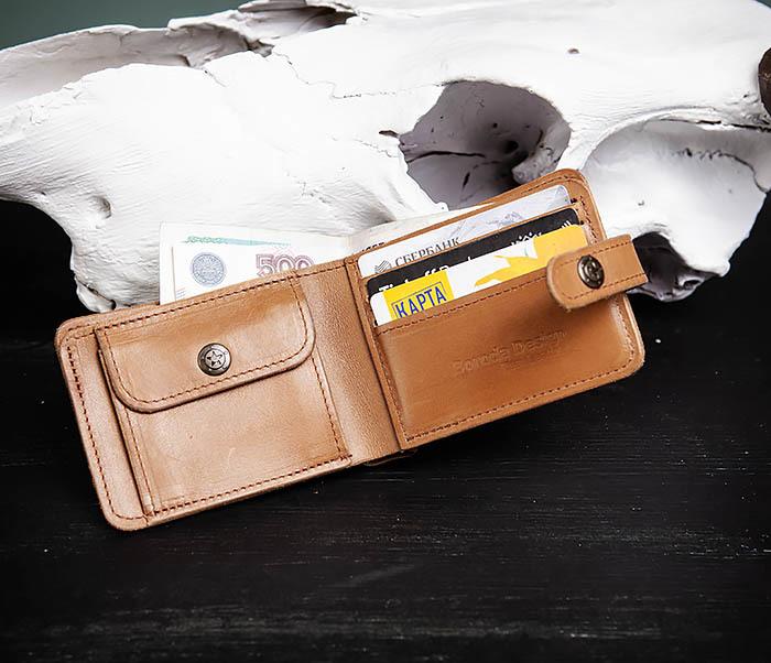 WB163 Мужской кожаный кошелек с монетницей на кнопке, «Boroda Design» фото 06
