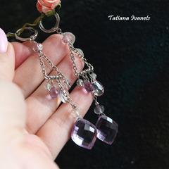 Серьги с цепочками из натуральных камней аметиста и аметрина