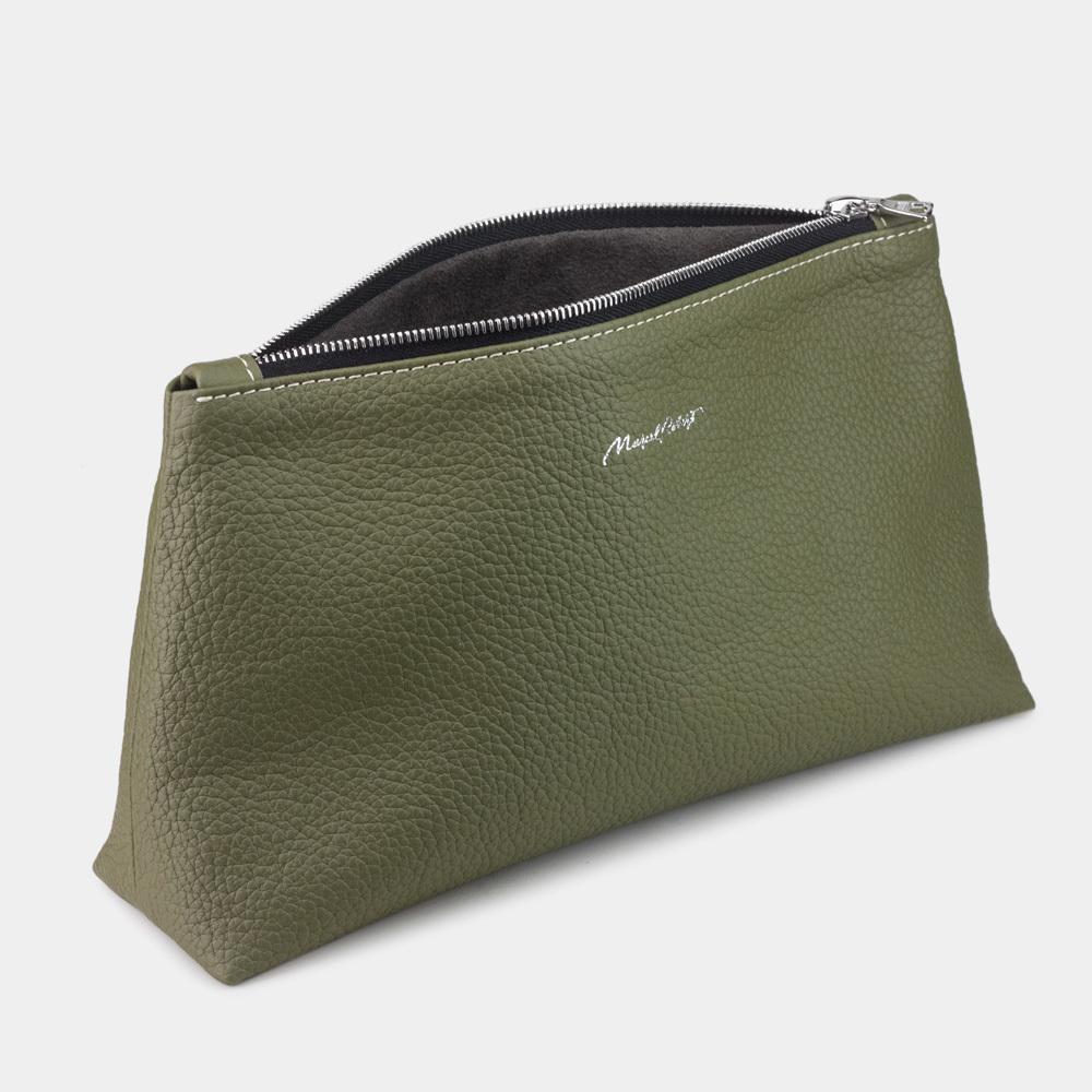 Женская косметичка Etoile Easy из натуральной кожи теленка, зеленого цвета
