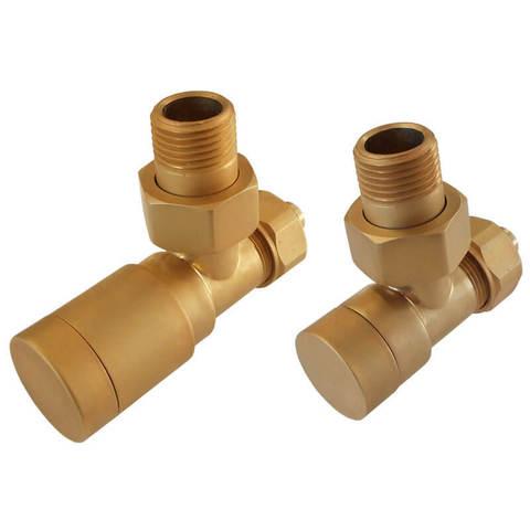 Комплект клапанов с ручной регулировкой Форма угловая Элегант Золото Мат. Для стали GZ 1/2 x GW 1/2