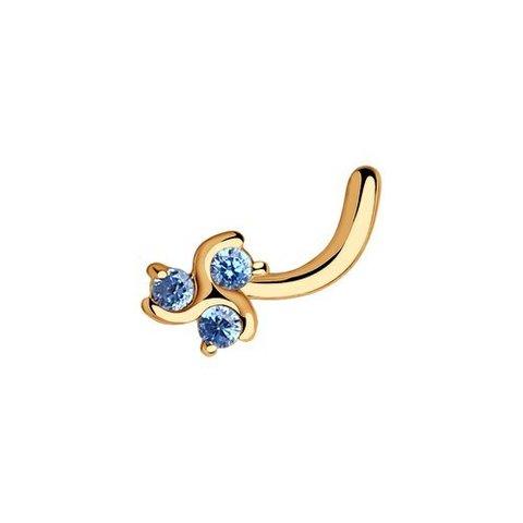 060106 - Пирсинг в нос из золота с фианитами