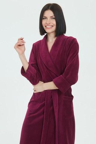 Женский велюровый халат 383 рубиновый