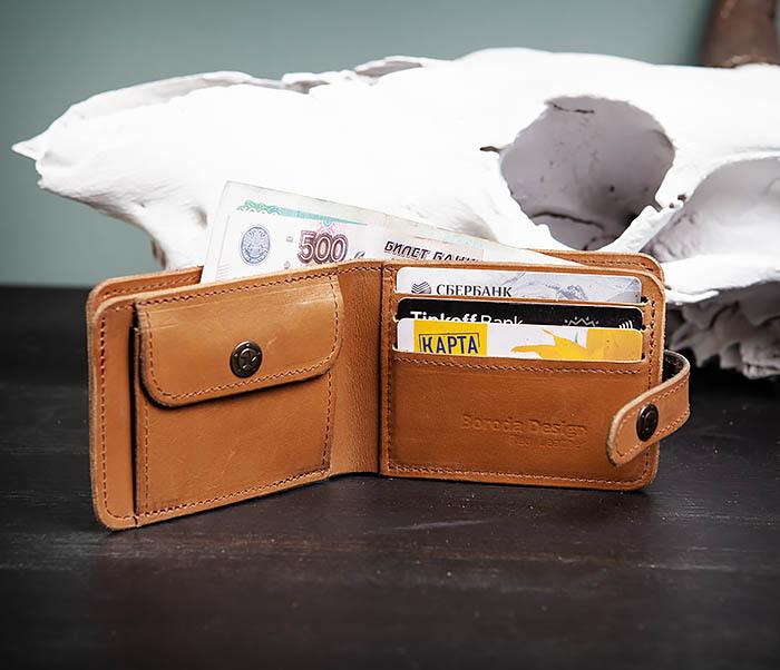 WB163 Мужской кожаный кошелек с монетницей на кнопке, «Boroda Design» фото 07