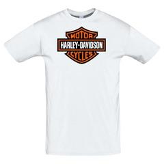 Футболка с принтом Харлей - Дэвидсон (Harley-Davidson) белая