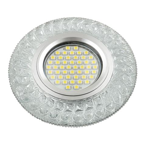 DLS-L144 GU5.3 GLASSY/CLEAR Светильник декоративный встраиваемый, серия Luciole. Без лампы, цоколь GU5.3. Доп. светодиодная подсветка 3Вт. Стекло. Зеркальный/прозрачный. ТМ Fametto