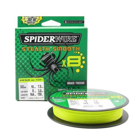 Плетеная леска Spiderwire Stealth Smooth 8 Braid Ярко-желтая 150м 0,09мм 7,5кг