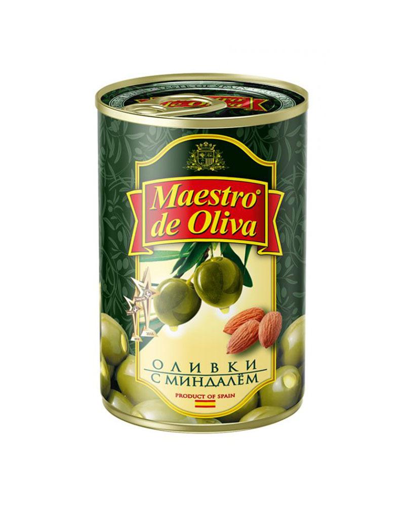 Оливки Maestro de Oliva с миндалем 300 гр.