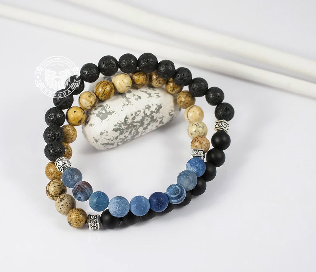 BS658 Двойной мужской браслет из шунгита, лавы, яшмы и агата. «Boroda Design» фото 06