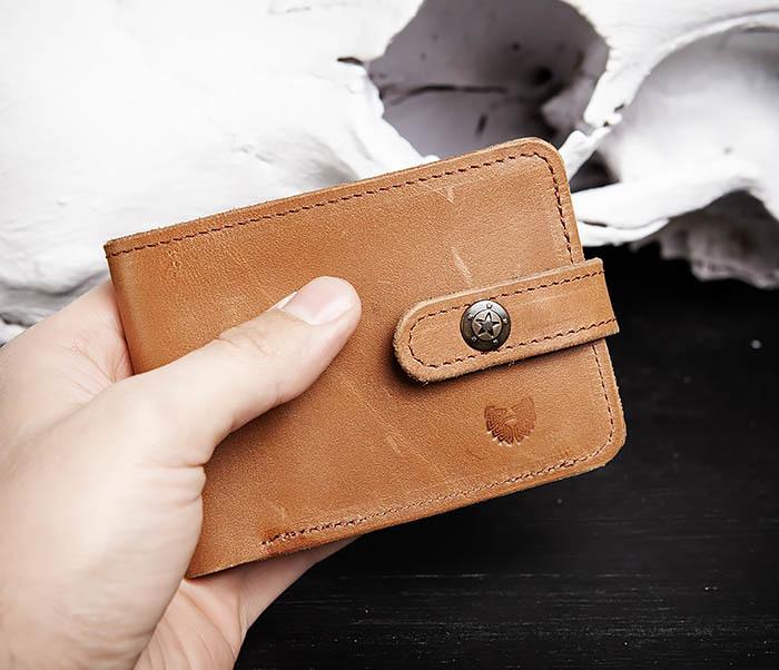 WB163 Мужской кожаный кошелек с монетницей на кнопке, «Boroda Design» фото 08