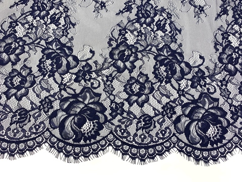 Кружевное полотно шантильи сине-черное (1,5х3м)