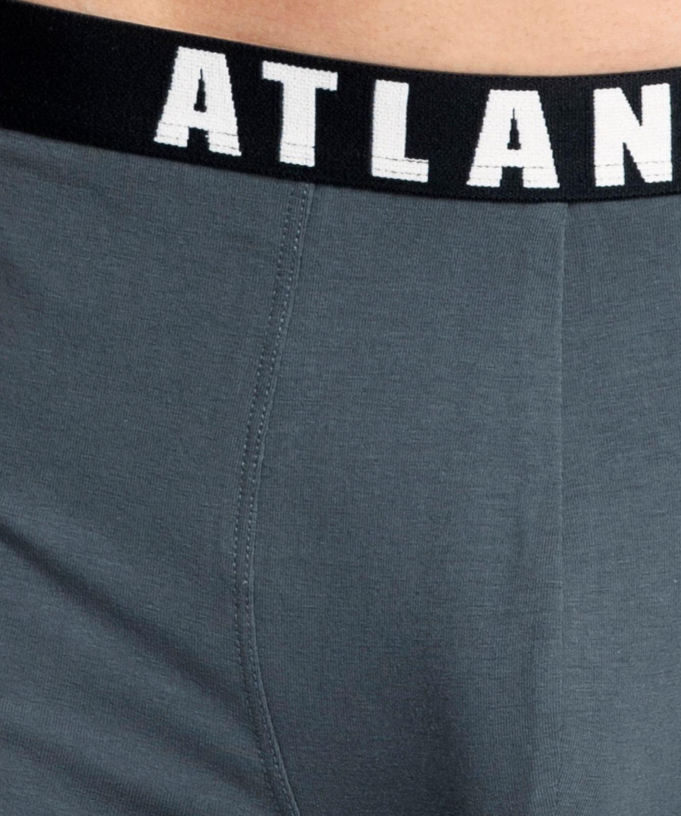 Мужские трусы шорты Atlantic, набор из 2 шт., хлопок, графит + черные, 2MH-1177