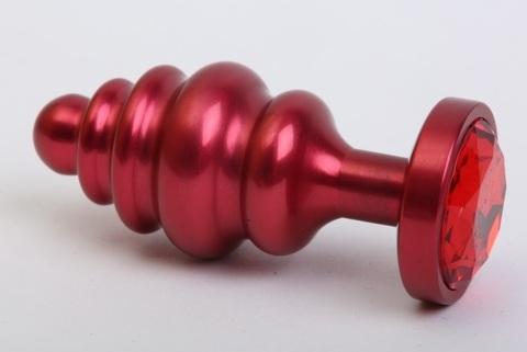 Пробка металл 7,3х2,9см фигурная красная красный страз 47426-2MM