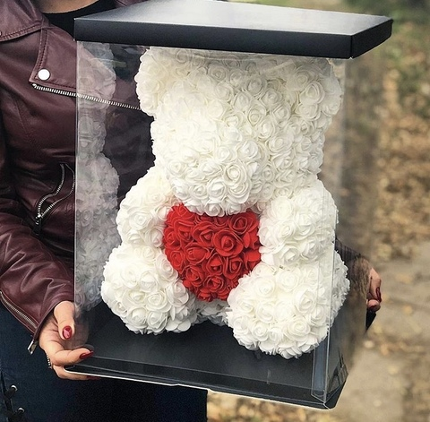 Мишка из роз 40 см в подарочной коробке #2528