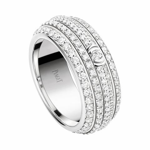 13091 - Кольцо-дорожка широкое из серебра с цирконами и крутящимся центром