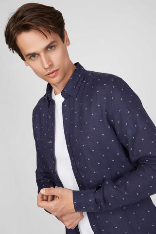 Мужская синяя льняная рубашка Tommy Hilfiger