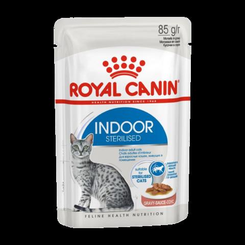 Royal Canin Indoor Sterilised Консервы для кошек живущих в помещении, кусочки в соусе (Пауч)