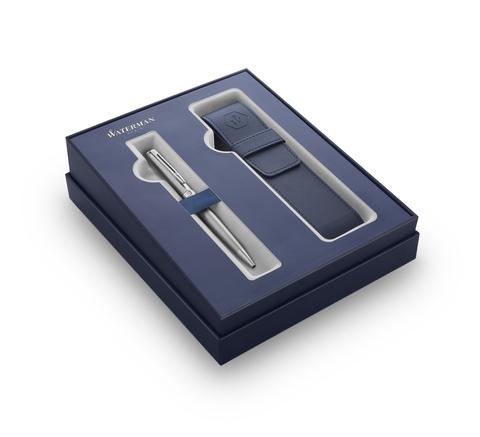 Подарочный набор Waterman Hemisphere с шариковой ручкой и чехлом Stainless Steel CT, толщина линии M, чернила синие123
