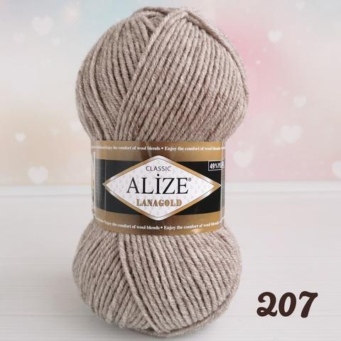 ALIZE LANAGOLD 207, Светлый коричневый меланж