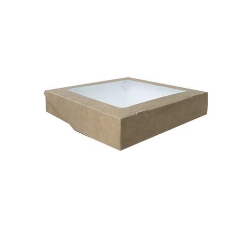 Коробка для сладостей, пряников и печенья, крафт с окном, 200*200*40 мм